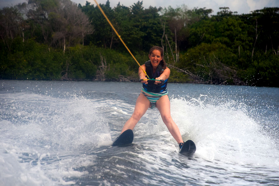 Enjoying water-skiing, Cancun
