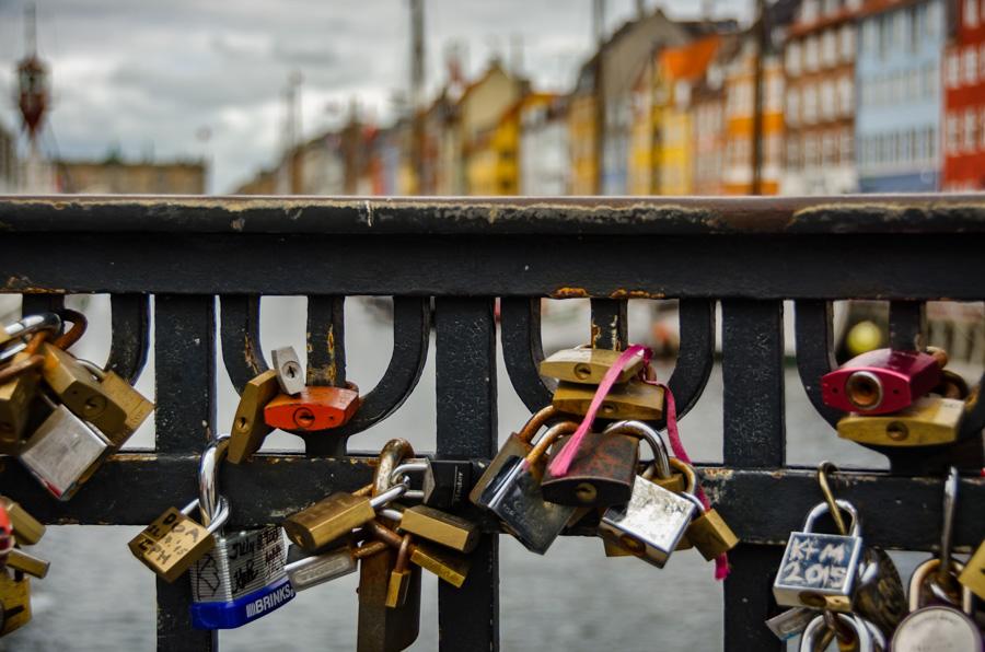 Love locks at Nyhavn, Copenhagen