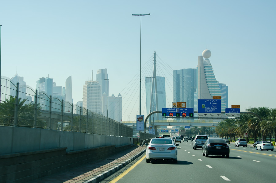 Dubai architecture seen through the taxi windshield