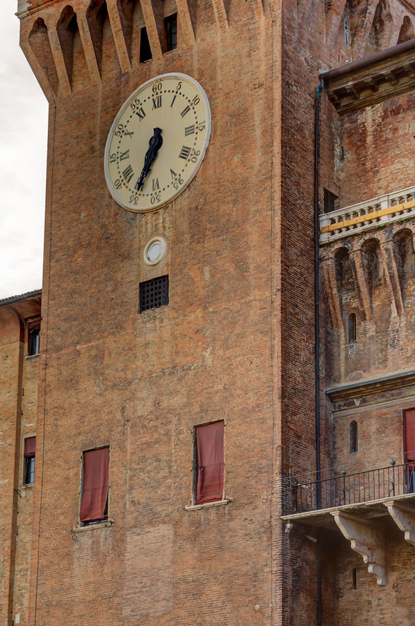 Clock tower of Castello Estense, Ferrara, Italy
