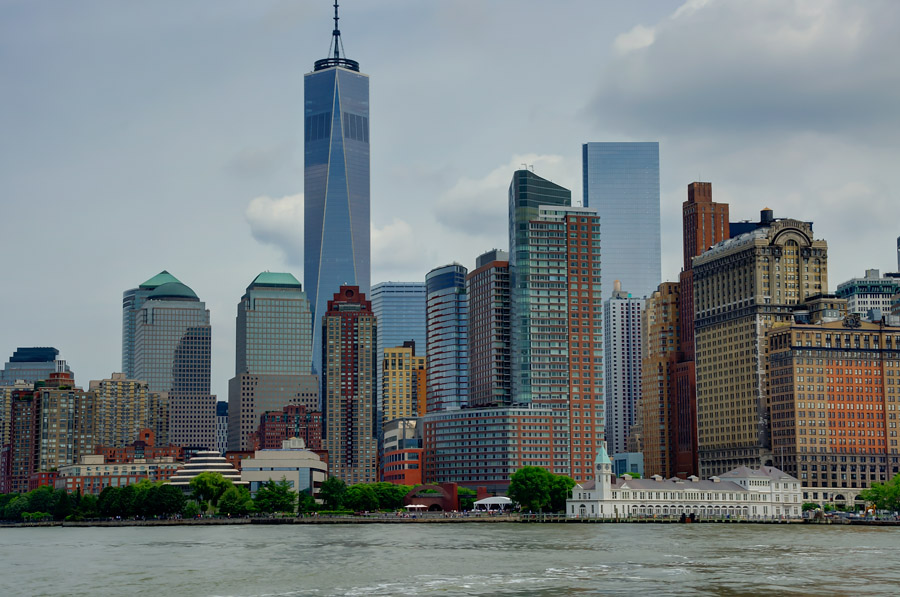 View of Lower Manhattan from New York Harbor