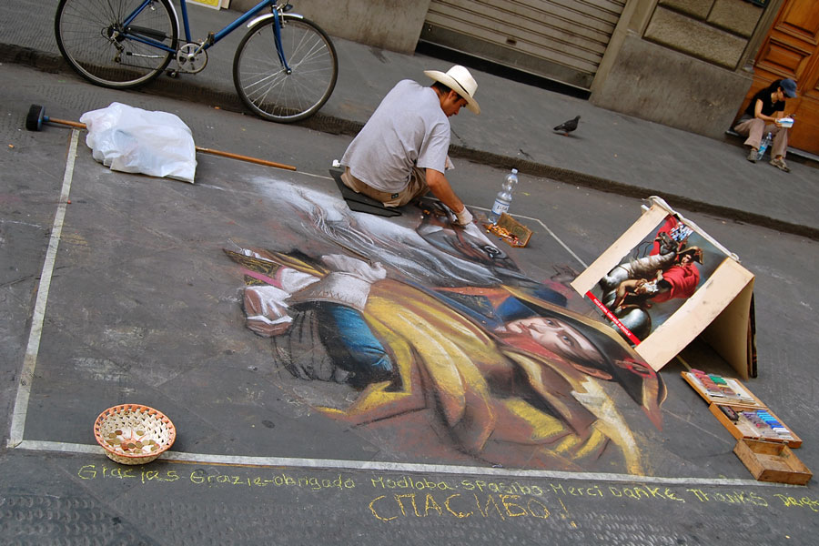 Pavement Art on the streets of Florence, Italy