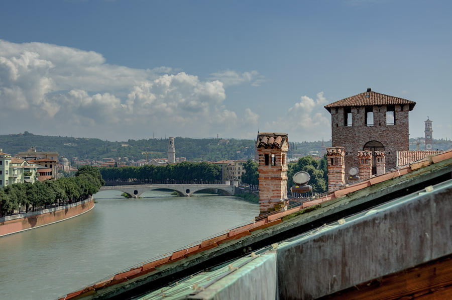 View from Castelvecchio along River Adige, Verona, Italy