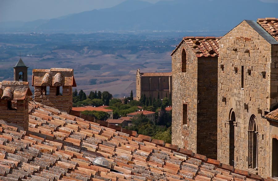 Volterra roofs and a Tuscan view