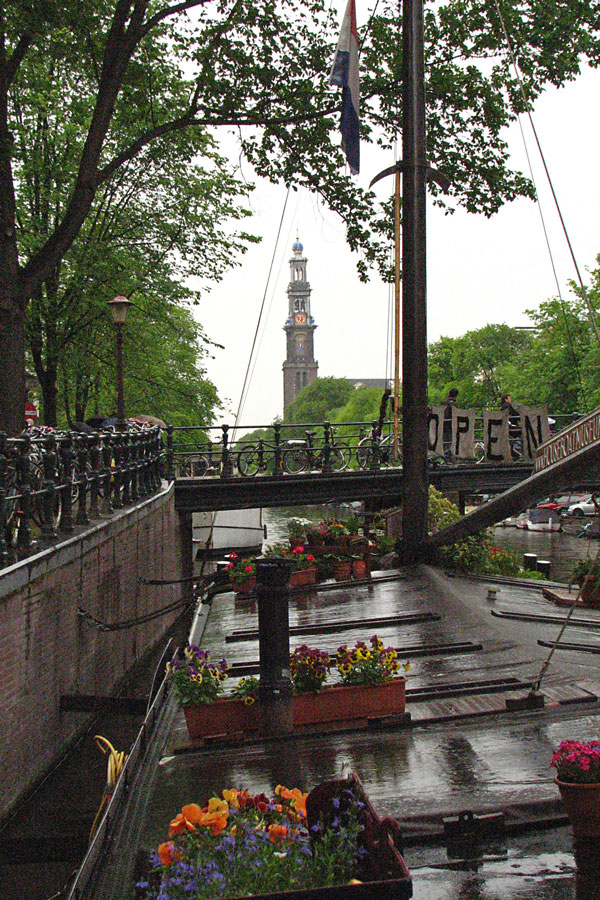 Westerkerk seen from the Houseboat Museum, Amsterdam