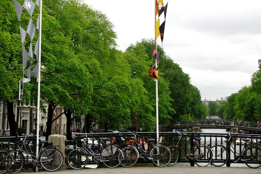 Bikes on a bridge, Amsterdam