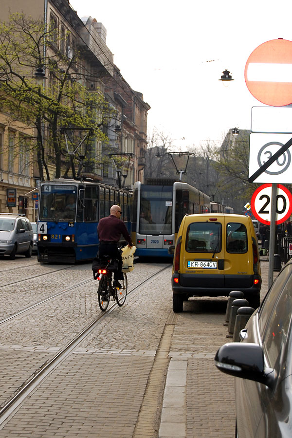 Bikes, trams and automobiles, Cracow
