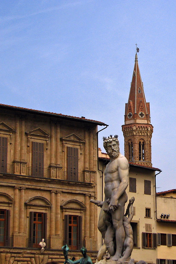 Neptune Fountain with Badia Fiorentina in the background, Florence