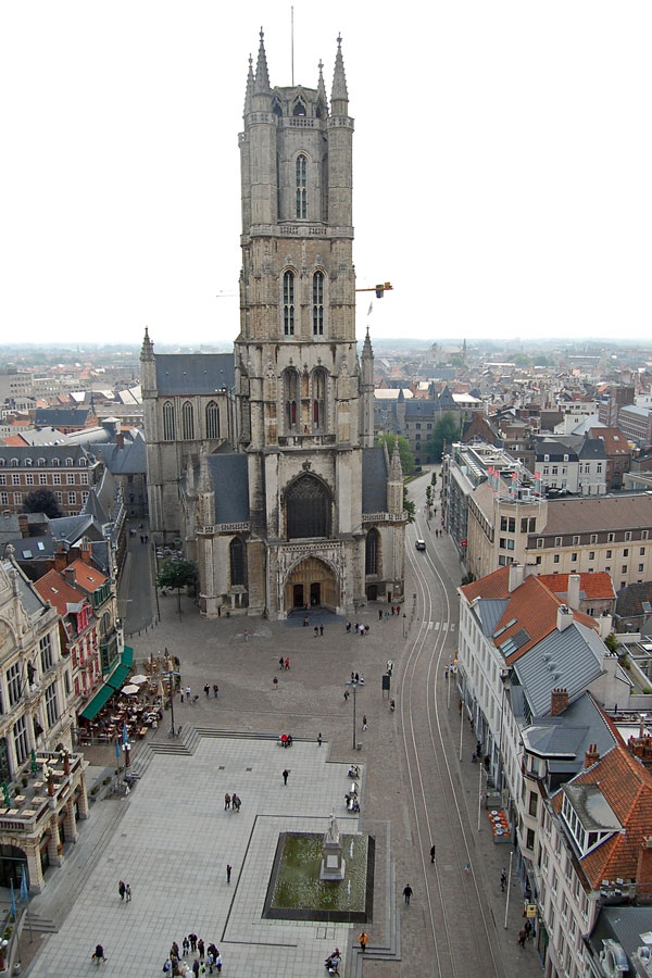 Belfort view onto St Bavo Cathedral, Ghent, Belgium