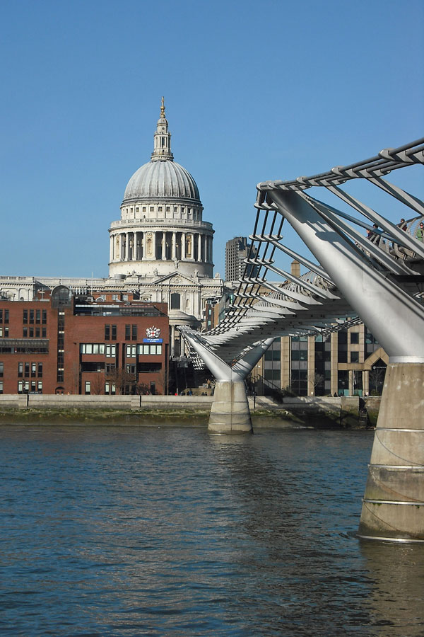 The Millenium Bridge and the St Paul Cathedral, London