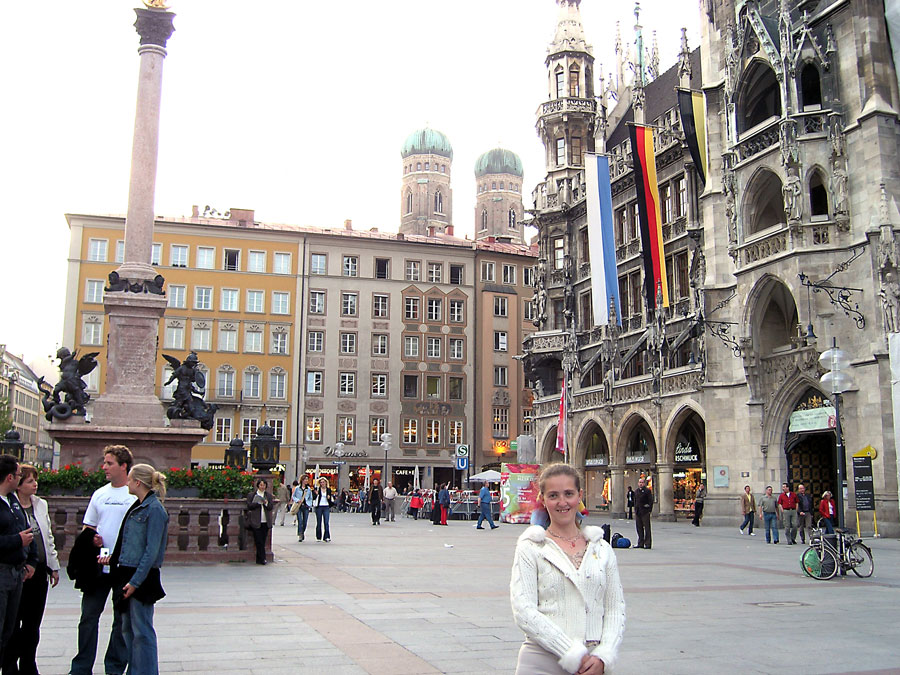 Marienplatz, with the New Town Hall and Frauenkirche domes in the background