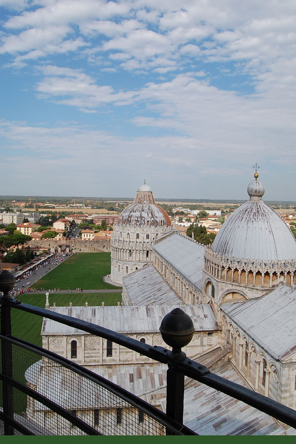 View from the top of the Leaning Tower, Pisa, Italy