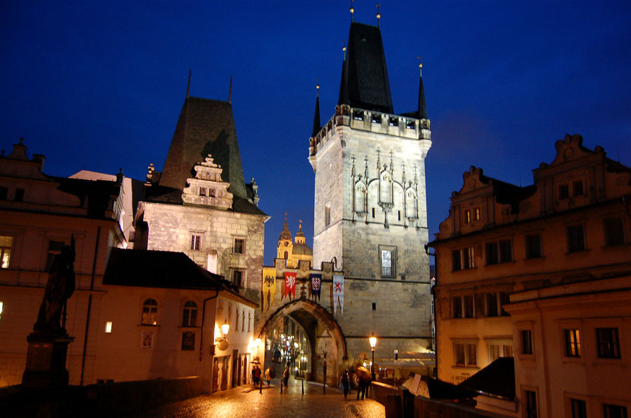 Night view of Little Quarter bridge tower