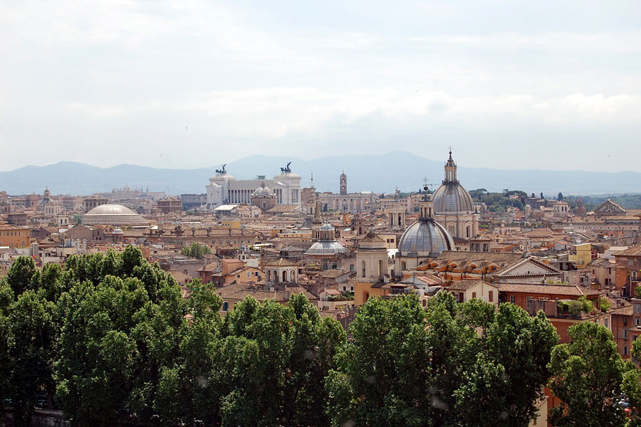 View over roofs of Rome from Castel SantAngelo