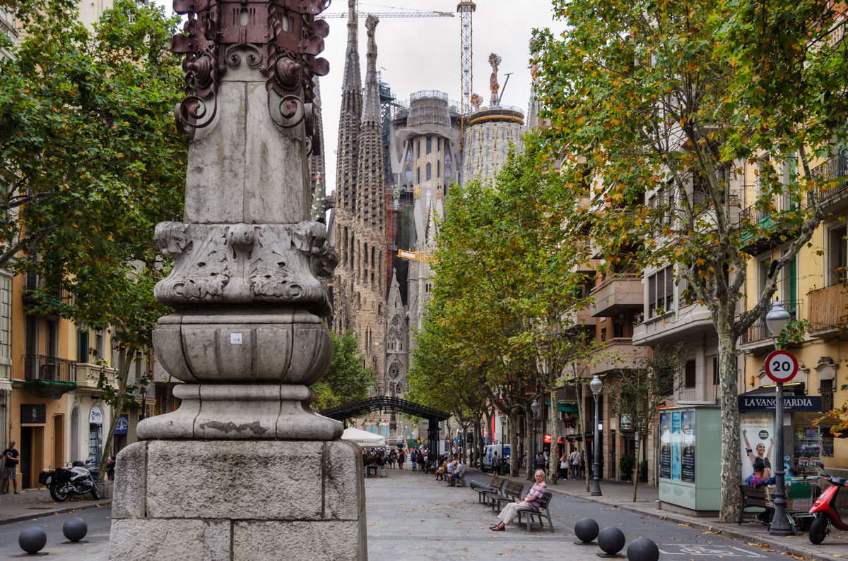 Looking to Sagrada Familia from Avinguda de Gaudi